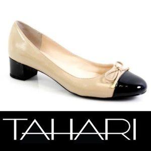 TAHARI Maisy cap toe block heel leather shoes Sz 8